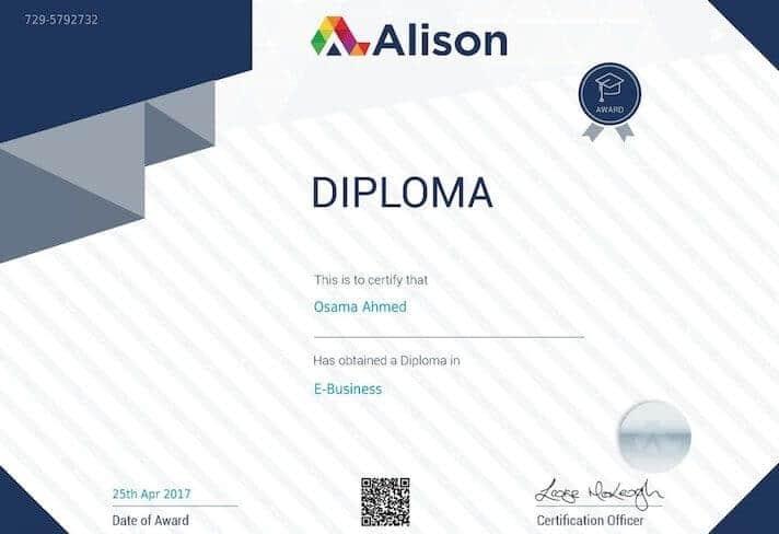 sertifikat internasional gratis dari alison