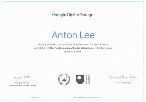 sertifikat google digital garage